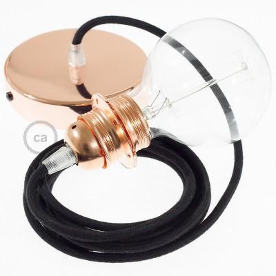 Pendelsæt til lampeskærm med Sort Bomuld stofledning RC04
