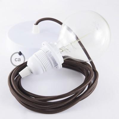 Pendelsæt til lampeskærm med Brun Viskose stofledning RM13