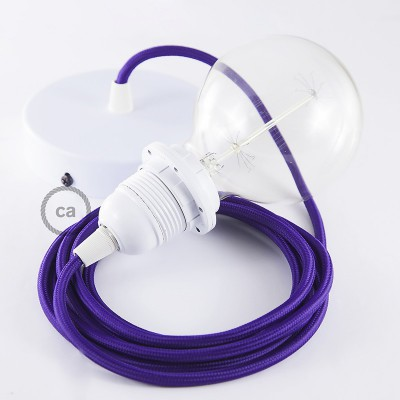 Pendelsæt til lampeskærm med Violet Viskose stofledning RM14