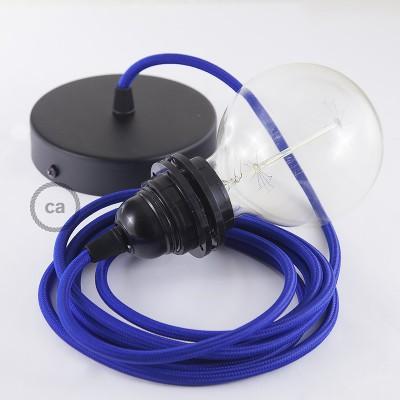 Pendelsæt til lampeskærm med Blå Viskose stofledning RM12