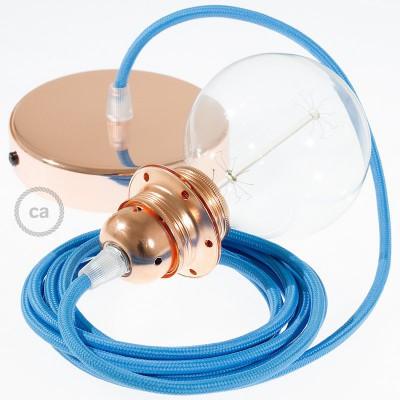 Pendelsæt til lampeskærm med Tyrkis Viskose stofledning RM11