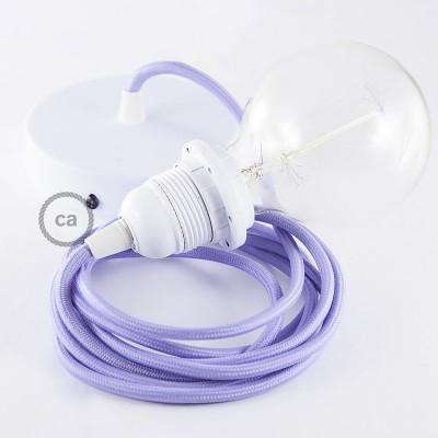 Pendelsæt til lampeskærm med Lyselilla Viskose stofledning RM07