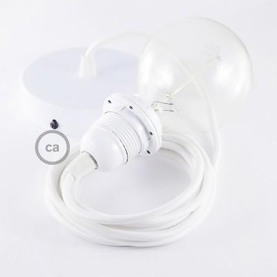Pendelsæt til lampeskærm med Hvid Viskose stofledning RM01