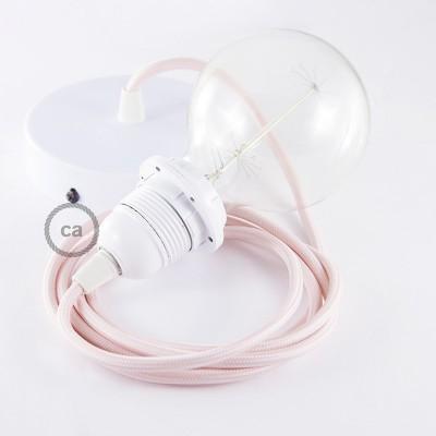 Pendelsæt til lampeskærm med Babylyserød Viskose stofledning RM16