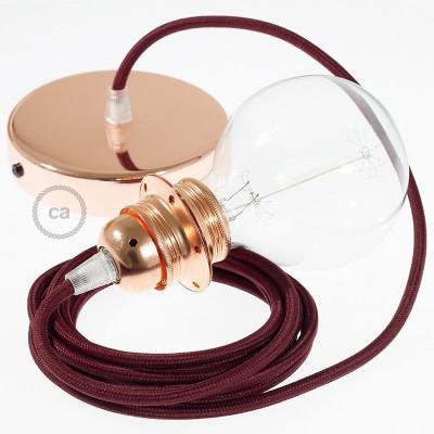 Pendelsæt til lampeskærm med Bordeaux Viskose stofledning RM19