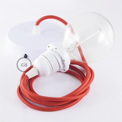 Pendelsæt til lampeskærm med Rød Viskose stofledning RM09
