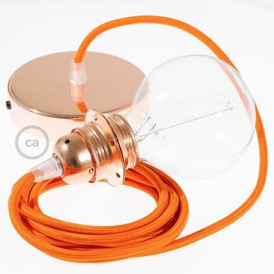Pendelsæt til lampeskærm med Orange Viskose stofledning RM15