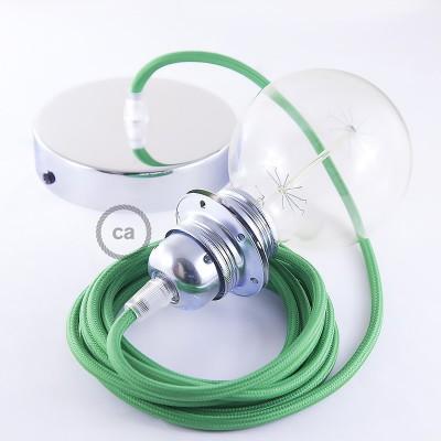 Pendelsæt til lampeskærm med Grøn Viskose stofledning RM06
