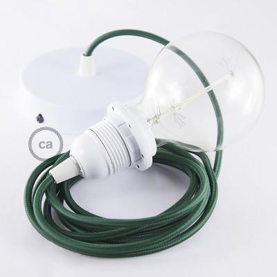 Pendelsæt til lampeskærm med Mørkegrøn Viskose stofledning RM21