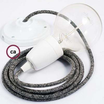 Pendelsæt Porcelæn med Sort Glinsende Naturlig hør stofledning RS81