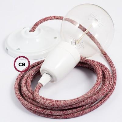 Pendelsæt Porcelæn med Rød Glinsende Naturlig hør stofledning RS83