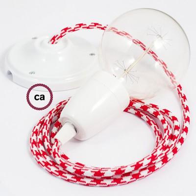 Pendelsæt Porcelæn med Tofarvet Rød stofledning RP09