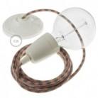 Pendelsæt Porcelæn med Tofarvet Gammelrosa og Grå Bomuld stofledning RP26