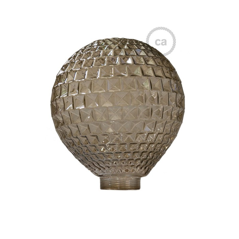 Globe til modular dekorativ lyskilde G125 Røgfarvet facet glas