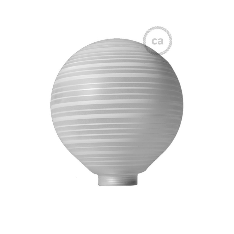 Globe til modular dekorativ lyskilde G125 Hvid med vandrette linjer