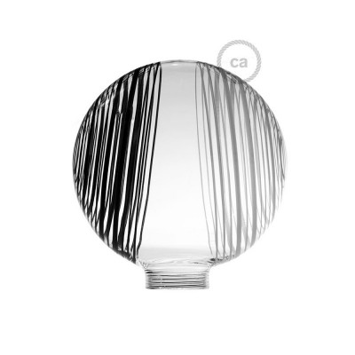 Globe til modular dekorativ lyskilde G125 Hvid med sorte og hvide cirkler
