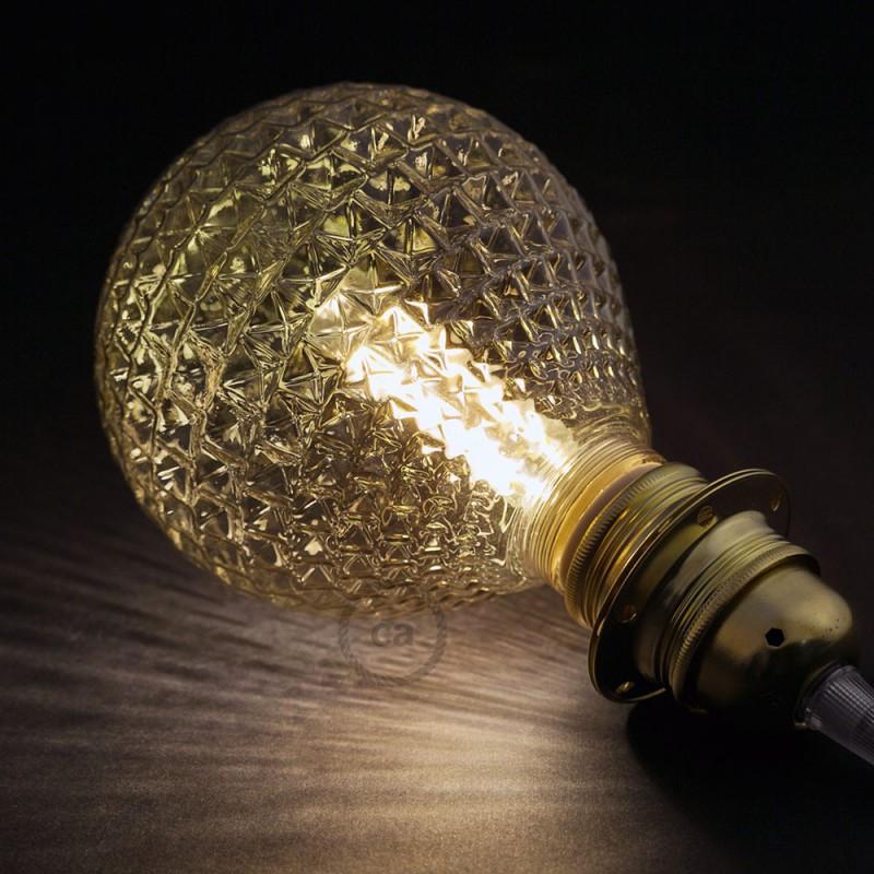 Modular LED Dekorativ lyskilde med Røgfarvet facet glas 5W E27 Dæmpbar 2700K