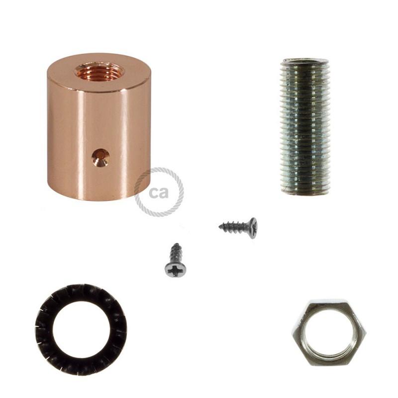 Kobberfarvet rørkobling i metal til 16 mm Creative-Tube, tilbehør inkluderet