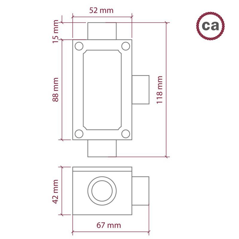 Tre-udtag, T-formet Krydsningboks til Creative-Tube, aluminiumshus