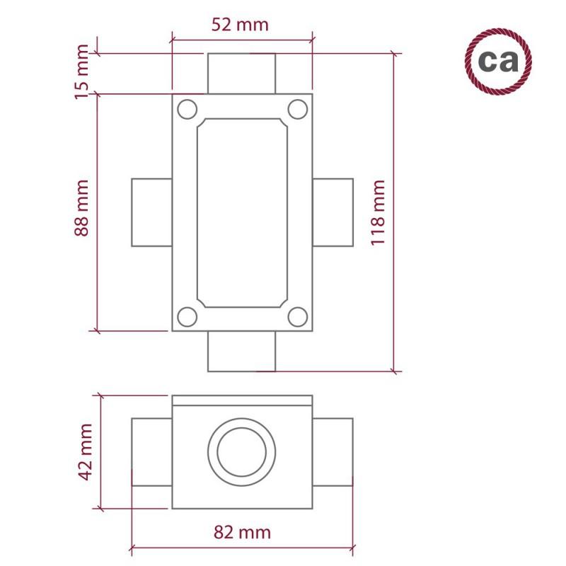 Fire-udtag, X-formet Krydsningboks til Creative-Tube, aluminiumshus