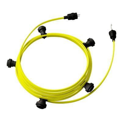 Lyskæde med 7,5m stofledning Gul Fluo CF10, 5 stk. fatninger, krog og kontakt