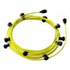 Lyskæde med 12,5m stofledning Gul Fluo CF10, 10 stk. fatninger, krog og kontakt