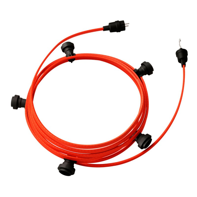 Lyskæde med 7,5m stofledning Orange Fluo CF15, 5 stk. fatninger, krog og kontakt