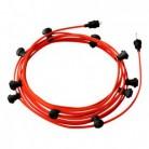Lyskæde med 12,5m stofledning Orange Fluo CF15, 10 stk. fatninger, krog og kontakt