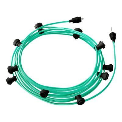 Lyskæde med 12,5m stofledning Opal CH69, 10 stk. fatninger, krog og kontakt