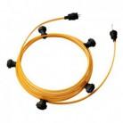Lyskæde med 7,5m stofledning Guld CM05, 5 stk. fatninger, krog og kontakt