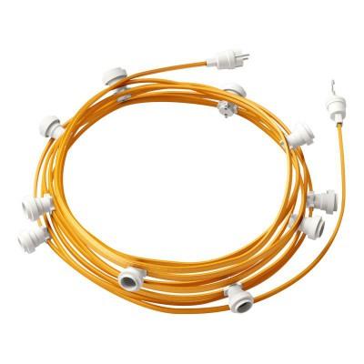 Lyskæde med 12,5m stofledning Guld CM05, 10 stk. fatninger, krog og kontakt