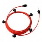 Lyskæde med 7,5m stofledning Rød CM09, 5 stk. fatninger, krog og kontakt
