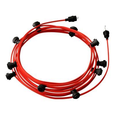Lyskæde med 12,5m stofledning Rød CM09, 10 stk. fatninger, krog og kontakt