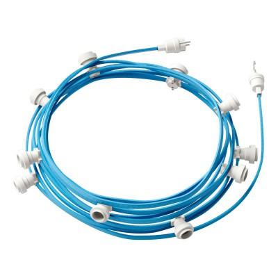 Lyskæde med 12,5m stofledning Lyseblå CM17, 10 stk. fatninger, krog og kontakt
