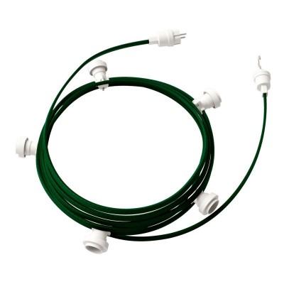 Lyskæde med 7,5m stofledning Mørkegrøn CM21, 5 stk. fatninger, krog og kontakt