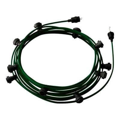 Lyskæde med 12,5m stofledning Mørkegrøn CM21, 10 stk. fatninger, krog og kontakt