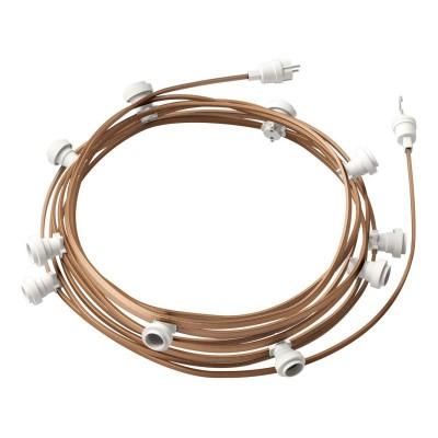Lyskæde med 12,5m stofledning Cipria CM27, 10 stk. fatninger, krog og kontakt