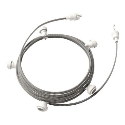 Lyskæde med 7,5m stofledning ZigZag Hvid/Sort CZ04, 5 stk. fatninger, krog og kontakt