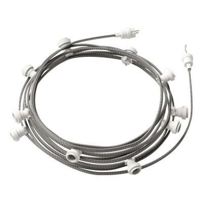 Lyskæde med 12,5m stofledning ZigZag Hvid/Sort CZ04, 10 stk. fatninger, krog og kontakt