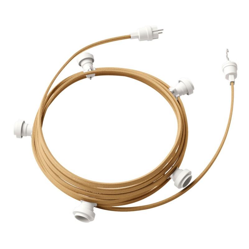 Lyskæde med 7,5m stofledning i Jute CN06, 5 stk. fatninger, krog og kontakt