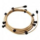 Lyskæde med 12,5m stofledning i Jute CN06 10 stk. fatninger, krog og kontakt
