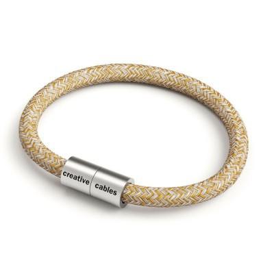 Armbånd af stofledning med magnetlås - RS82 Brun Glinsende Naturlig hør