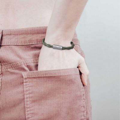 Armbånd af stofledning med magnetlås - TC63 Grågrøn