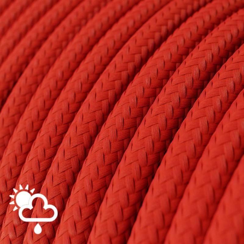 Rund udendørsledning beklædt med Rød viskose SM09