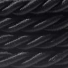 XL ledning 3x0,75. Betrukket med skinnende sort stof. Diameter 16mm.
