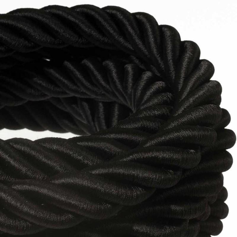 3XL ledning 3x0,75. Betrukket med skinnende sort stof. Diameter 30mm.