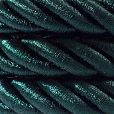 2XL ledning 3x0,75. Betrukket med skinnende mørkegrønt stof. Diameter 24mm.