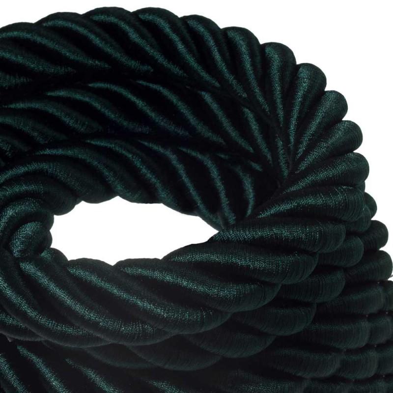 3XL ledning 3x0,75. Betrukket med skinnende mørkegrønt stof. Diameter 30mm.