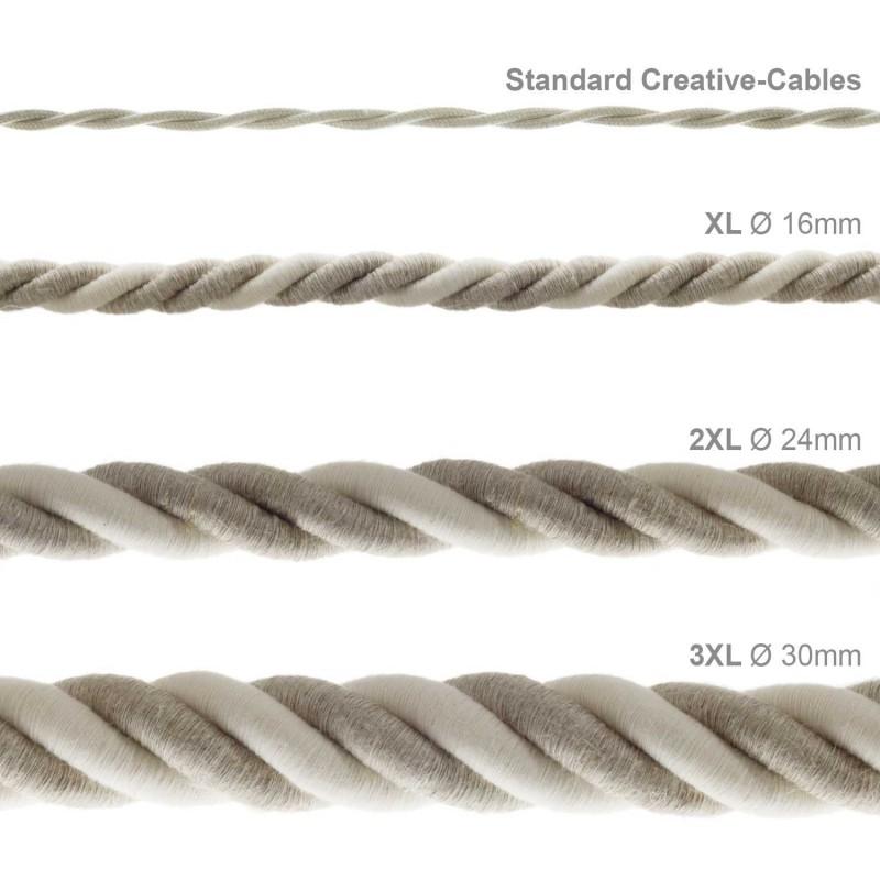 3XL ledning 3x0,75. Betrukket med hør og rå bomuld. Diameter 30mm.
