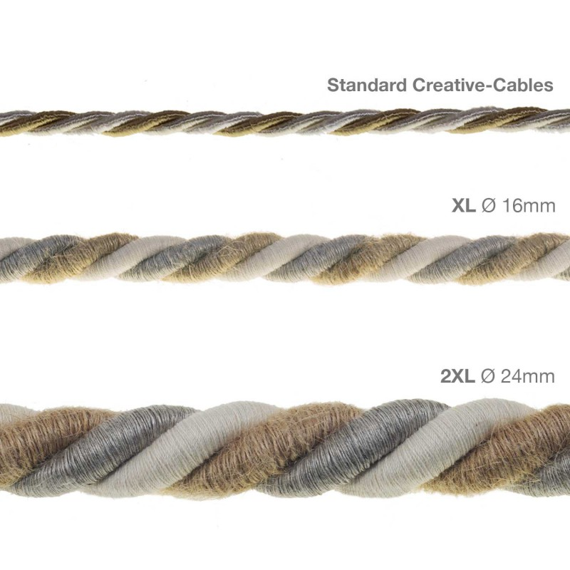 2XL ledning 3x0,75. Betrukket med hør, bomuld og jute – Country. Diameter 24mm.
